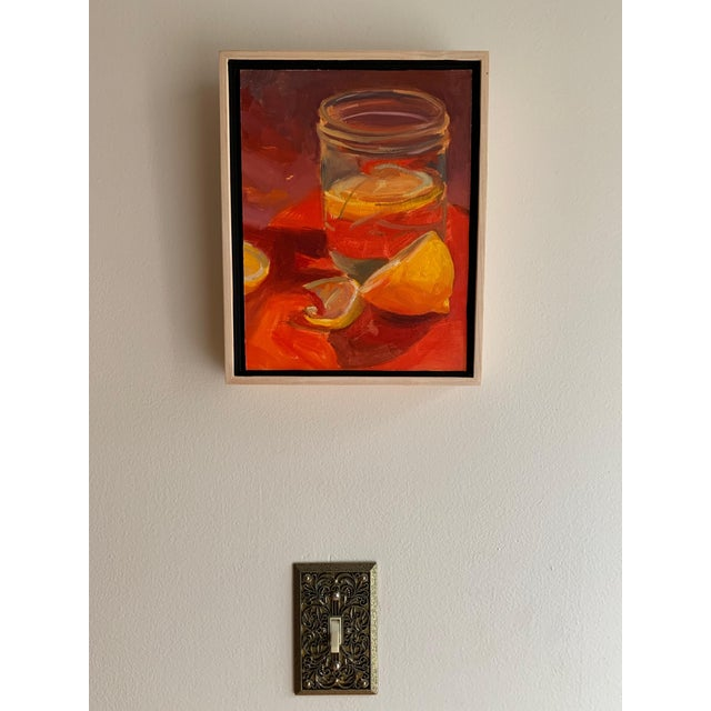 Intense hot colors dominate this painting. Lemons on Red Still Life. Inspired by a vintage red tupperware cutting board...