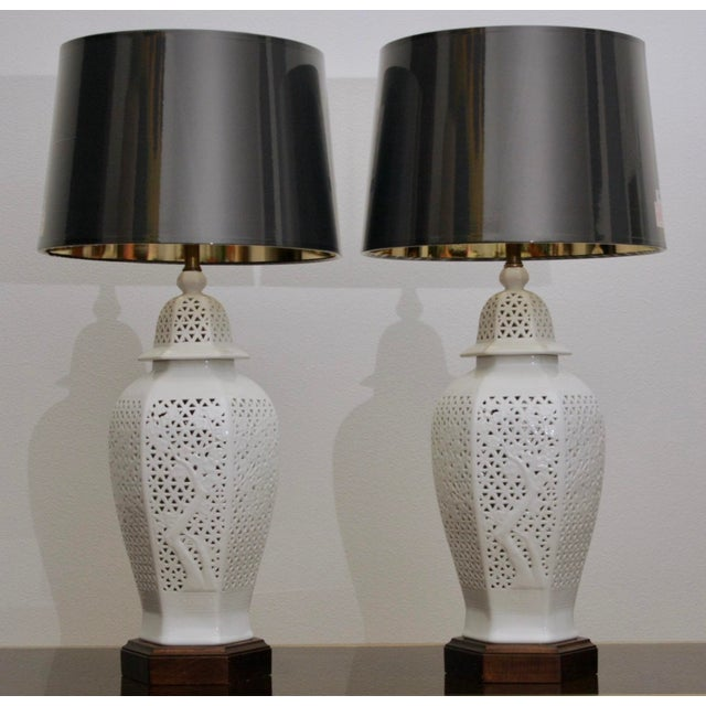 Asian Frederick Copper Blanc De Chine Pierced Chinoiserie Lamps - A Pair For Sale - Image 3 of 11