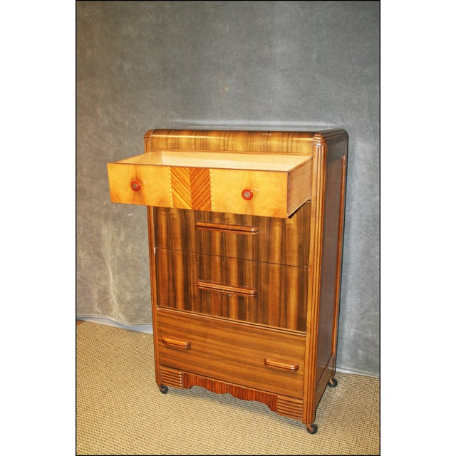 Art Deco Art Deco Waterfall Dresser With Bakelite Drawer Pulls For Sale - Image 3 of 11