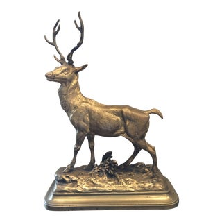 19th Century French Louis-Theophile Hingre Bronze Stag Sculpture For Sale