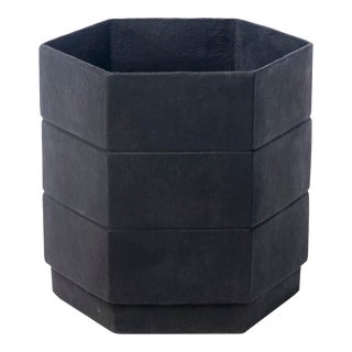 Hex 3 Planter in Matte Black For Sale