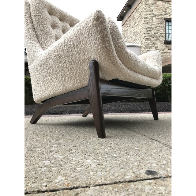 Bassett Furniture Adrian Pearsell for Basset Mid-Century-Modern Lounge Chair Tufted Faux Fur Shearling For Sale - Image 4 of 10