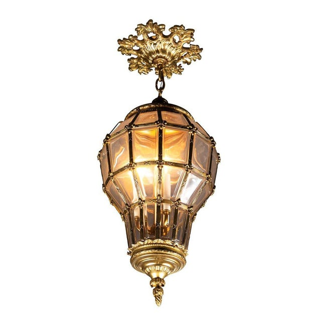 Gilt Hanging Lantern With Ceiling Escutcheon For Sale - Image 10 of 10