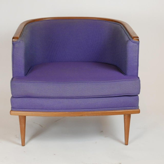 Fabric Pair of Milo Baughman Barrel Back Lounge Chairs With Walnut Detail For Sale - Image 7 of 13