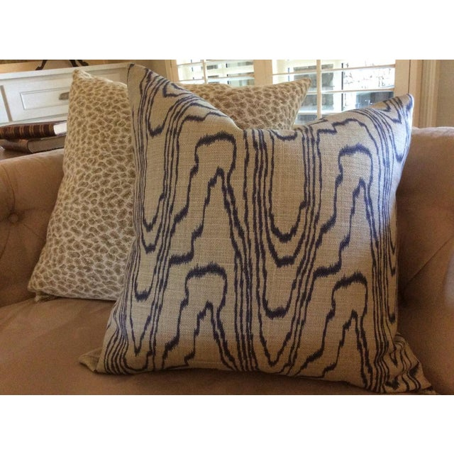"""2010s Contemporary """"Slate Blue"""" Swirl Linen Pillow Covers - a Pair For Sale - Image 5 of 6"""
