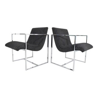 Vintage Mid Century Milo Baughman Scoop Lounge Chairs- A Pair For Sale