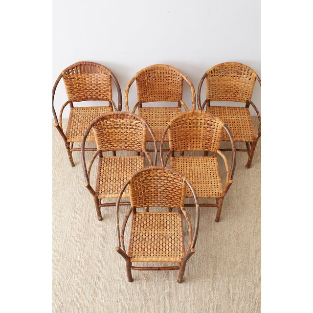 Adirondack Set of Six Old Hickory Twig Hoop Adirondack Armchairs For Sale - Image 3 of 13