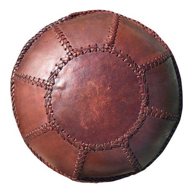 Vintage Bohemian Hand Stitched Leather Floor Pillow - Image 1 of 11