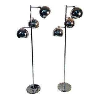 Koch & Lowy Three Globe Shades Chrome Floor Lamps- A Pair For Sale