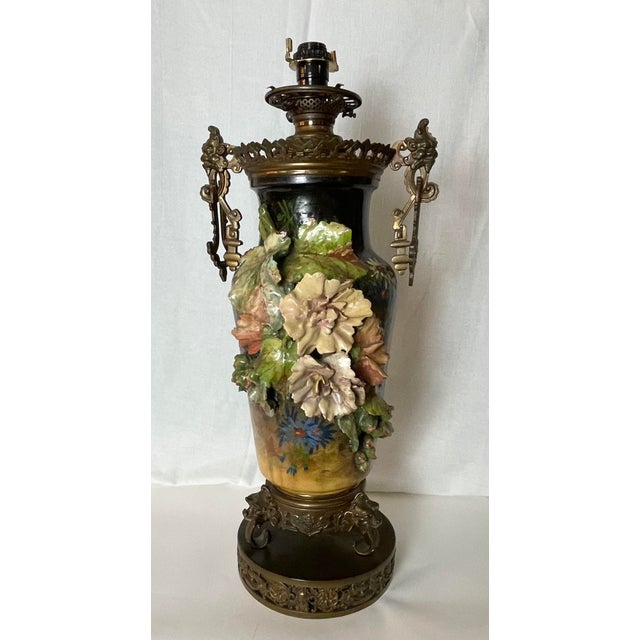 19th C. Over-Scale Lamp W/Dramatic 3-Dimensional Floral Details & Orientalist Bronze Mounts For Sale - Image 4 of 13