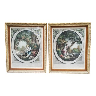Antique Framed French Country Aquatint Engravings-A Pair For Sale