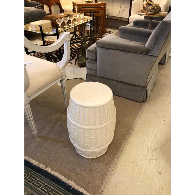 Sophisticated Ceramic Blanc De Chine Side Table Drinks Table Garden Seat For Sale - Image 4 of 5