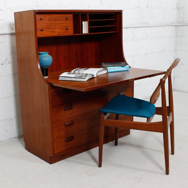 Danish Modern Teak Drop Front Secretary / Desk - Image 7 of 7