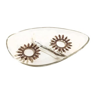 Mid-Century Glass & Metallic Candy Dish / Ashtray For Sale