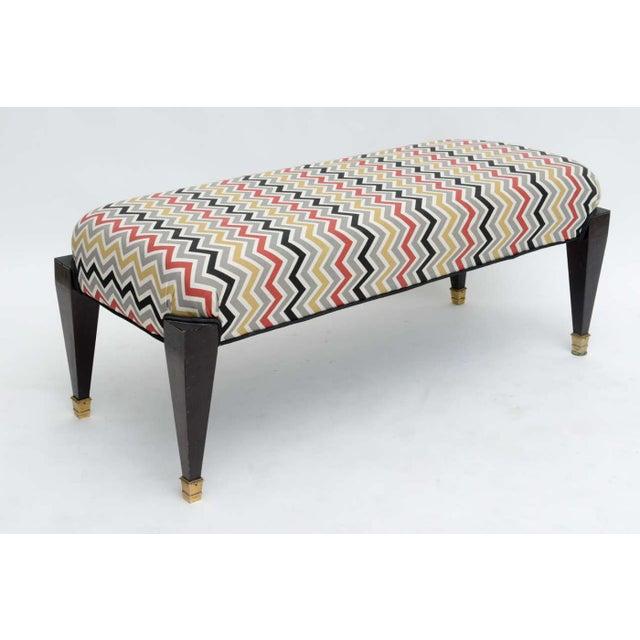 Maison Jansen French Neoclassic Style Ebonized and Brass Bench, Maison Jansen For Sale - Image 4 of 9