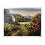 Image of Impressionist Oil Painting Mountain Landscape W Cottages on Lake Pisarski For Sale