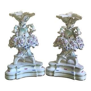French Antique Signed Jacob Petit Porcelain Tripod Epergnes / Vases, Circa 1850s - a Pair For Sale