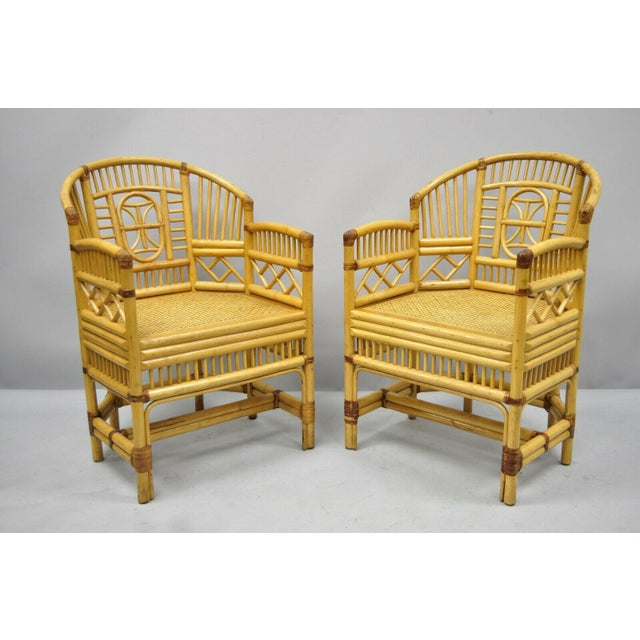Vintage Brighton Pavilion Style Bamboo & Cane Rattan Arm Chairs- A Pair For Sale - Image 10 of 11