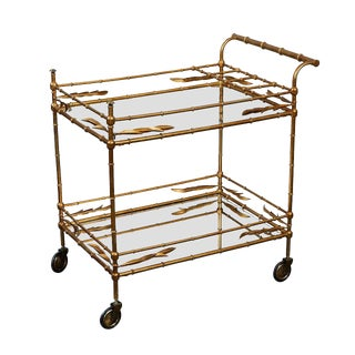 1950s Hollywood Regency Faux Bamboo Bar Cart For Sale