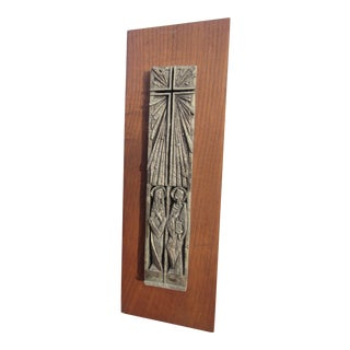 Mid-Century Cast Religious Icon Panel on Wood For Sale