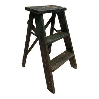 Vintage Shabby Wood 2 Step Folding Ladder For Sale