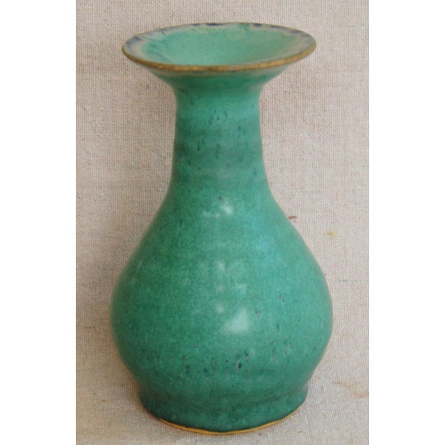 Mid-Century Studio Art Green Pottery Bud Vases - Set of 2 - Image 6 of 8