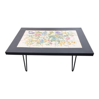 Floral Tile Top Table Mid Century Modern For Sale