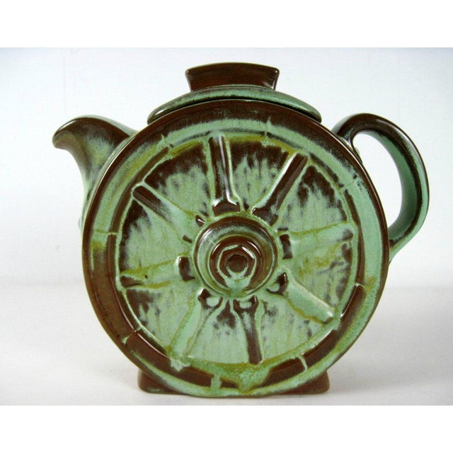 Boho Chic Frankoma Prairie Green Wagon Wheel Coffee Serving Set For Sale - Image 3 of 11