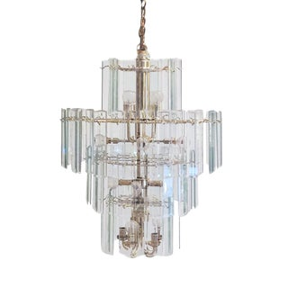 70s Palm Springs Regency Style Beveled Crystal Panes 4 Tier Wedding Cake Style Chandelier For Sale