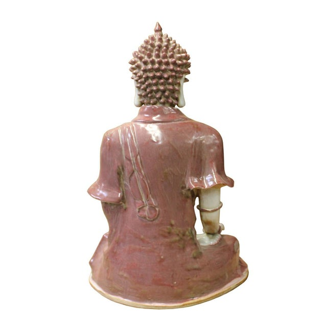 Vintage Chinese Sitting Buddha With Bowl Statue For Sale - Image 5 of 7