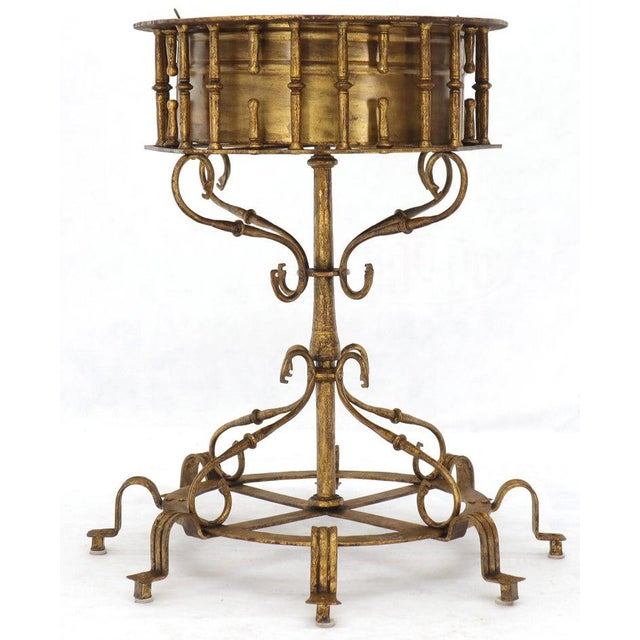 Metal Large Italian Wrought Iron Gold Gilt Planter For Sale - Image 7 of 13