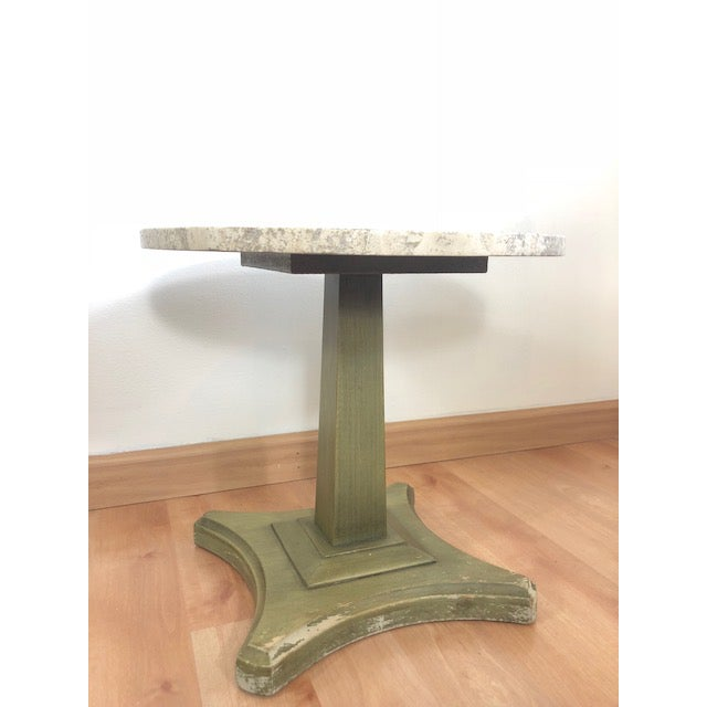 Vintage Italian Travertine Table For Sale - Image 4 of 6