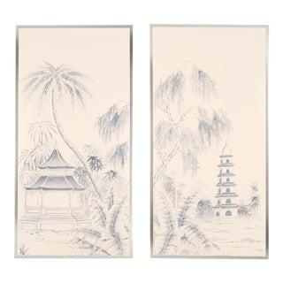 """Blue Pagoda Garden"" Chinoiserie Framed Silk Panel Diptychs by Jardins en Fleur - Set of 2 For Sale"