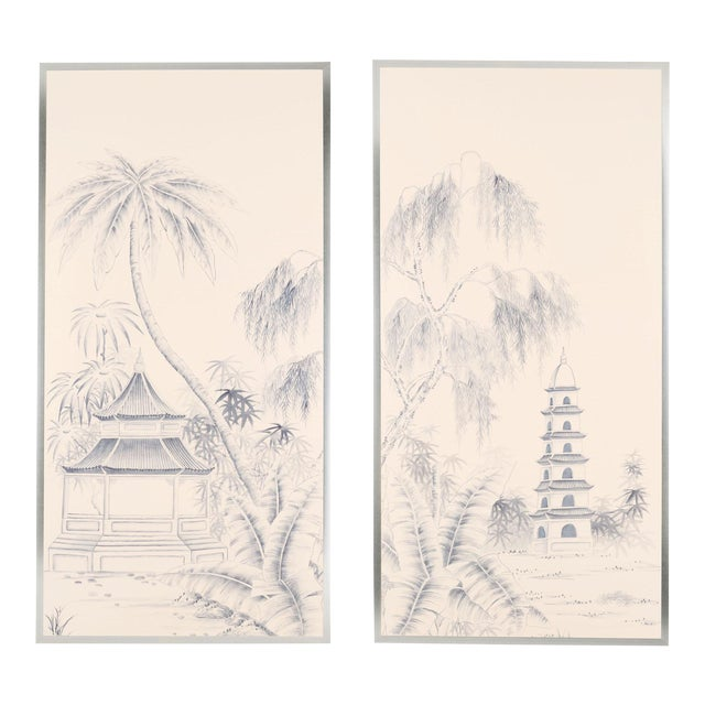 """Blue Pagoda Garden"" Chinoiserie Framed Silk Panel Diptychs by Jardins en Fleur - Set of 2 For Sale"
