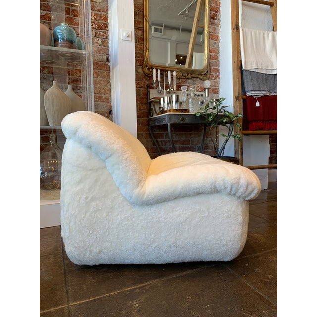 Mid-Century Modern 1970's Reupholstered Curly Shearling Swivel Chair - 2 Available For Sale - Image 3 of 11