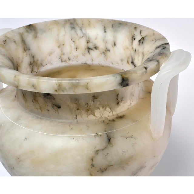 2010s Italian Carved Alabaster Vase With Handles For Sale - Image 5 of 11