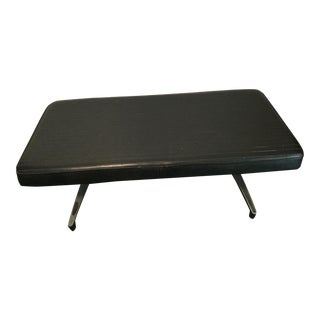 Upholstered Genuine Leather Covered Bench For Sale