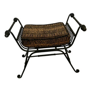 Wrought Iron & Tapestry Bench
