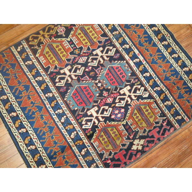 19th Century Antique Caucasian Rug Fragment- 2'11'' x 3'5'' For Sale - Image 4 of 6