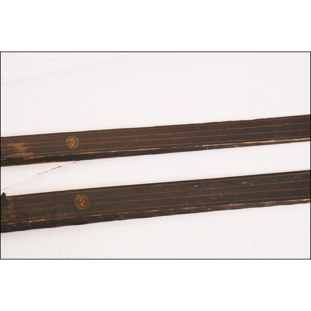 Cottage Vintage Rustic Wood Snow Skis - A Pair For Sale - Image 3 of 11