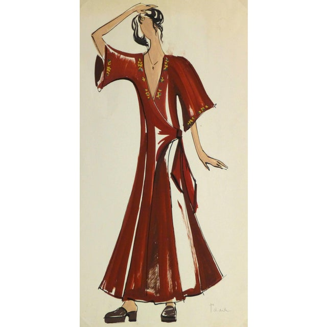 1980s French Fashion Sketch - Red Wrap Dress For Sale - Image 5 of 5