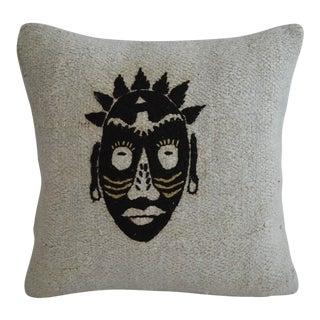 """African Mask Handmade Rug Hemp Pillow Cover Hand Woven Throw Pillow - 16"""" X 16"""" For Sale"""