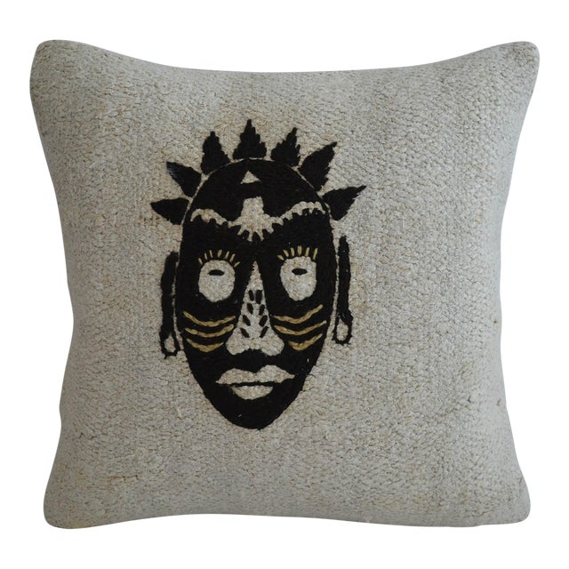 "African Mask Handmade Rug Hemp Pillow Cover Throw With Free Insert 16"" X 16"" For Sale"