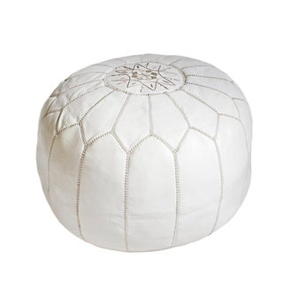 White Leather Ottoman Pouf For Sale