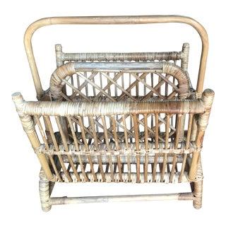 Vintage Mid Century Bamboo Magazine Rack Basket For Sale