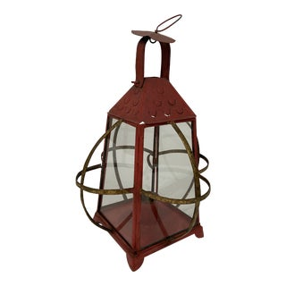 Vintage Red Metal Candle Lantern For Sale