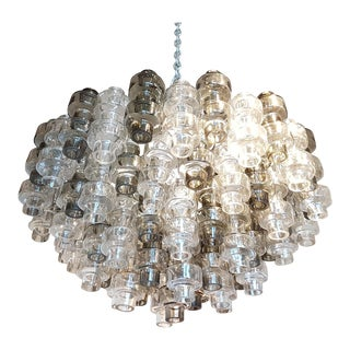 Murano glass smoke/transparent mid century modern Seguso Barbell chandelier or flush mount
