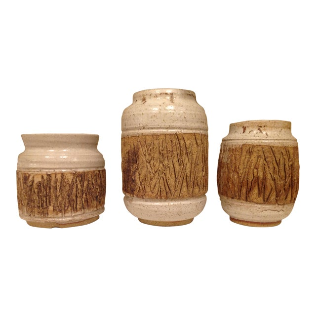 Faux Bois Art Pottery Vases - Set of 3 For Sale