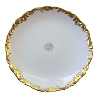 Vintage Limoges French Round Platter or Cake Plate, Gold Trim For Sale