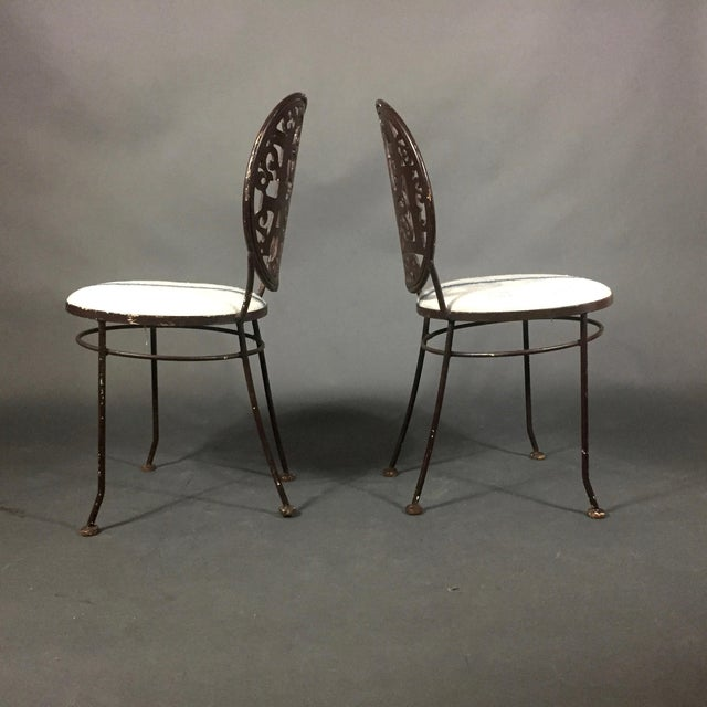 Mid 20th Century Pair Mid-Century Peace Love Garden Chairs, Grainsack Covers For Sale - Image 5 of 10
